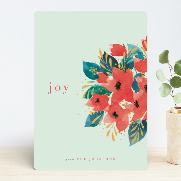 """Watercolor Poinsettia"" - Holiday Cards in Jade by Four Wet Feet Studio. COME BE INSPIRED by 7 Christmas Card Photo Hacks!"