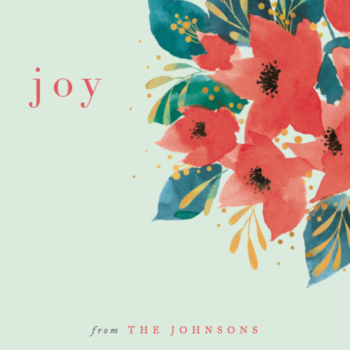 """Watercolor Poinsettia"" - Holiday Cards in Evergreen by Four Wet Feet Studio."