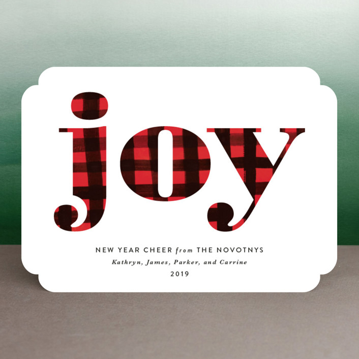 """Buffalo Plaid Joy"" - Holiday Cards in Snow by Erika Firm."
