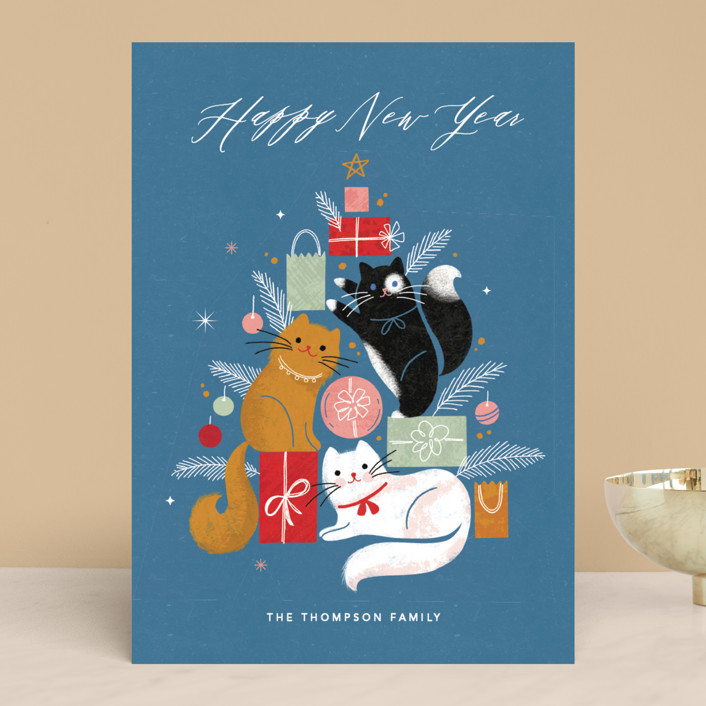 """Christmas Kitties"" - Funny Holiday Cards in Blueberry by Kristen Smith."