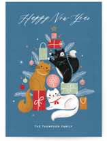 This is a blue non photo holiday card by Kristen Smith called Christmas Kitties with standard printing on signature in standard.