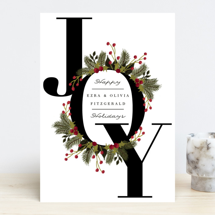 """Wreath of Joy"" - Holiday Cards in Coal by Jackie Crawford."