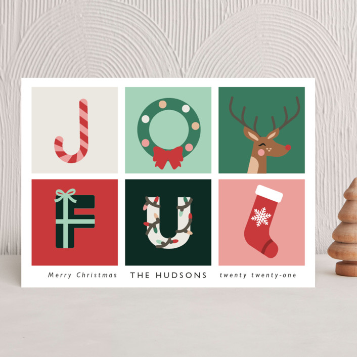 """""""Joyful"""" - Modern Holiday Cards in Candy by Hudson Meet Rose."""