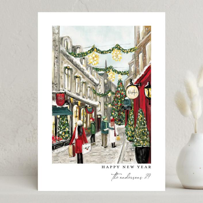 """City Sidewalks"" - Holiday Cards in Crimson by Susan Moyal."