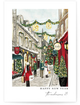 This is a red non photo holiday card by Susan Moyal called City Sidewalks with standard printing on signature in standard.