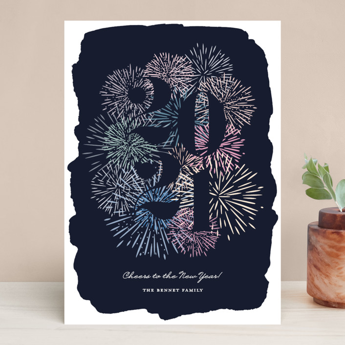 """Cheerful New Year"" - Modern Holiday Cards in Navy by Annie Shapiro."