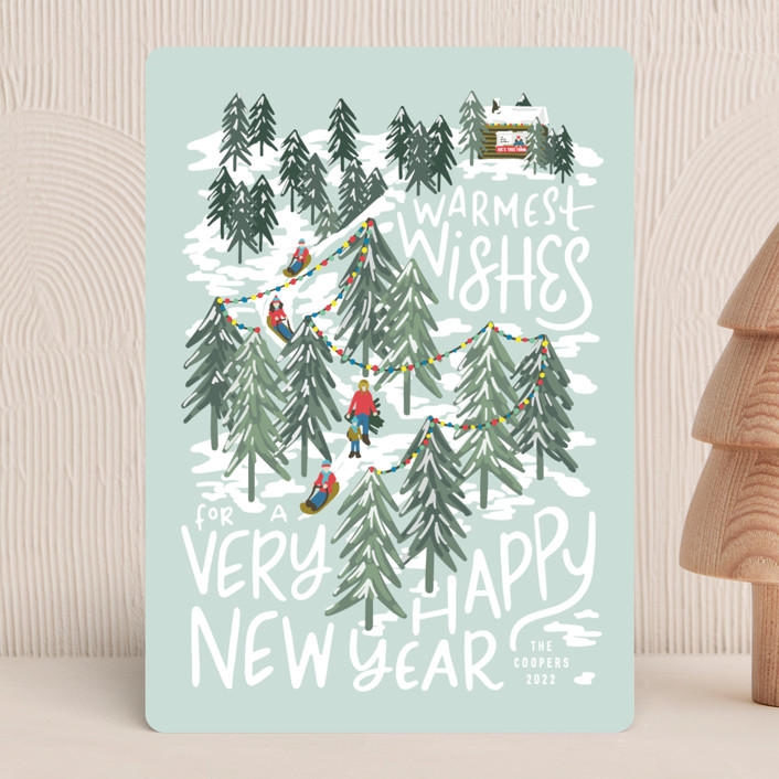 """""""Winter Scene"""" - Holiday Cards in Peppermint by Meggy Masters."""