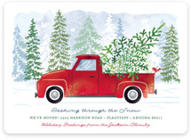 This is a red non photo holiday card by Paper Sun Studio called Dashing Through the Snow with standard printing on signature in standard.