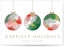 This is a red non photo holiday card by Nicole Walsh called Painted Ornaments with standard printing on signature in standard.
