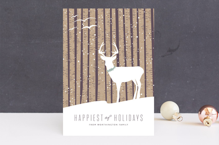 """Birch Holiday"" - Bohemian Holiday Cards in Plum by Bethany Anderson."