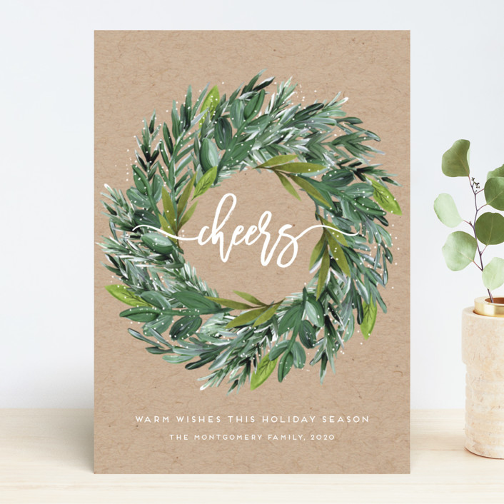"""Natural Pine Wreath"" - Holiday Cards in Kraft by Petra Kern."