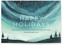 This is a green non photo holiday card by Petra Kern called Xmas Aurora with standard printing on signature in standard.