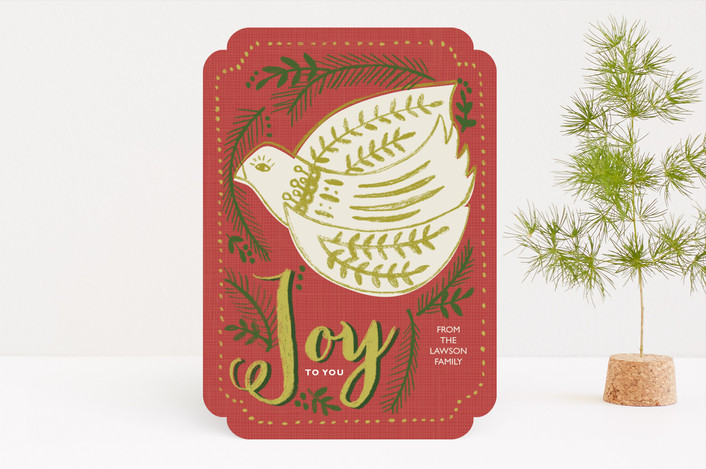 """Folksy Bird Corporate Card"" - Holiday Cards in Coral by Brooke Bristow."