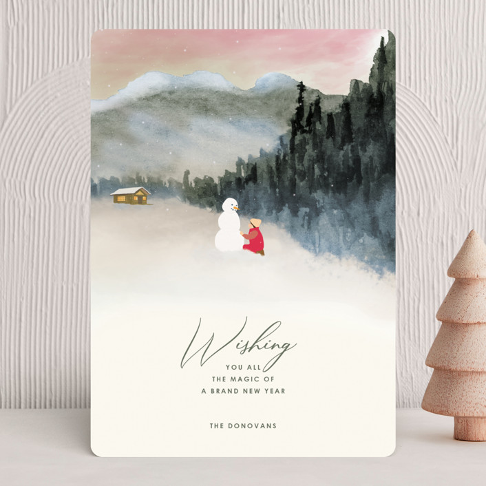 """""""Seasonal Magic"""" - Holiday Cards in Rosy Glow by Shannon."""
