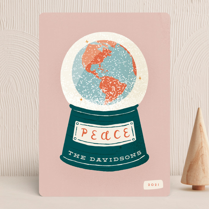 """""""Snow Globe"""" - Holiday Cards in Dusty Rose by Gwen Bedat."""