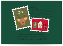 This is a green non photo holiday card by Shari Margolin called North Pole Post with standard printing on signature in standard.