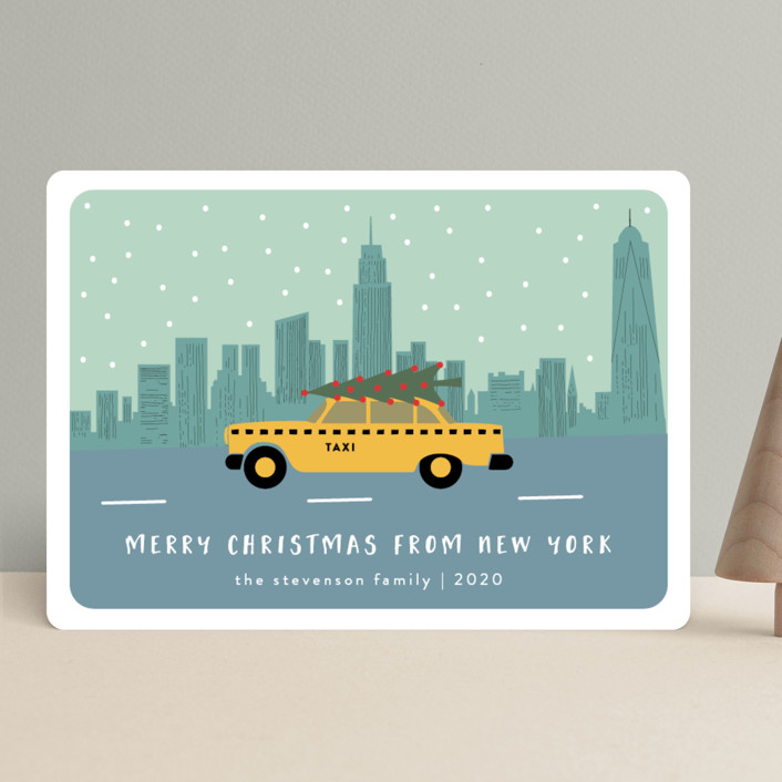 """""""New York Christmas"""" - Vintage, Modern Holiday Cards in Slate Blue by Kampai Designs."""