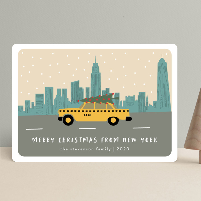 """""""New York Christmas"""" - Holiday Cards in Slate Blue by Kampai Designs."""
