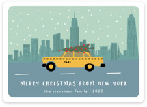 This is a blue non photo holiday card by Kampai Designs called New York Christmas with standard printing on signature in standard.