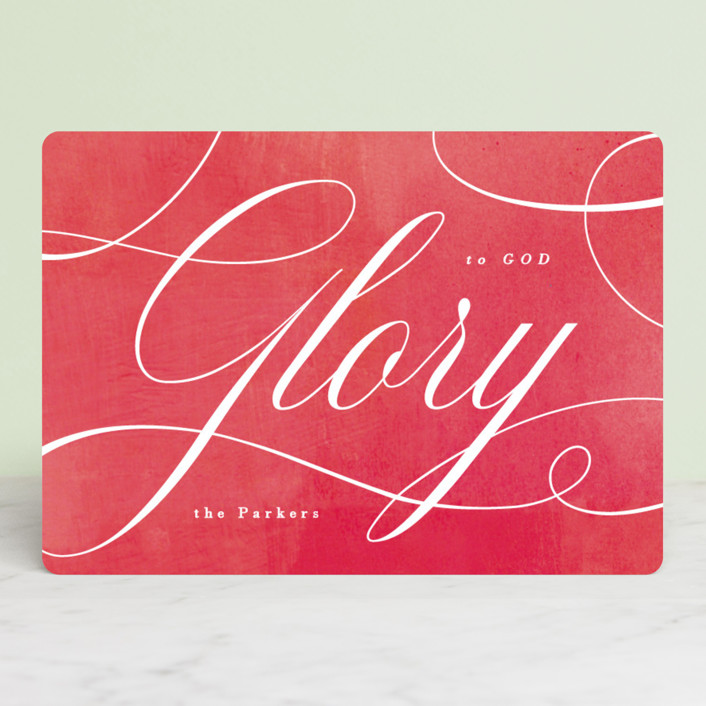 """""""Glory Scripted"""" - Holiday Cards in Poinsettia by Hooray Creative."""
