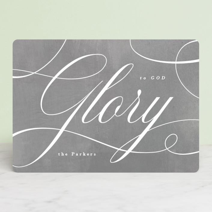 """Glory Scripted"" - Holiday Cards in Poinsettia by Hooray Creative."