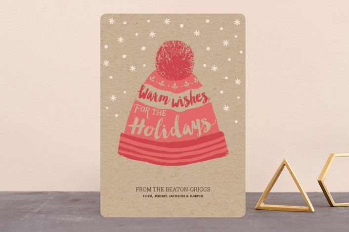 """""""Warm & Cosy"""" - Holiday Cards in Coral by Stylisti."""