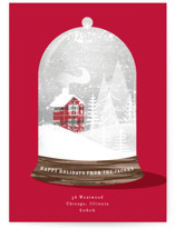 This is a red non photo holiday card by Baumbirdy called Plaid Cottage with standard printing on signature in standard.