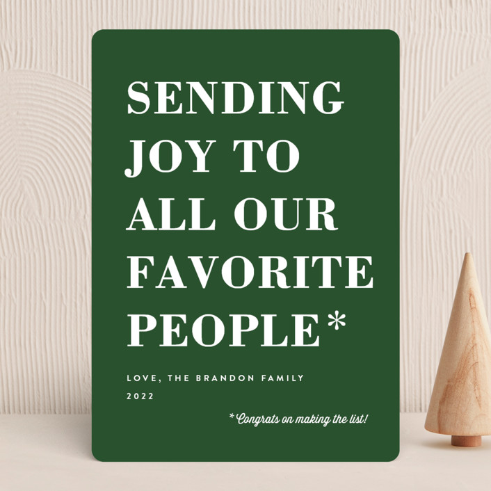 """You Made the List"" - Funny Holiday Cards in Evergreen by Amy Payne."