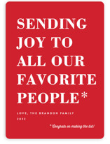 This is a red non photo holiday card by Amy Payne called You Made the List with standard printing on signature in standard.