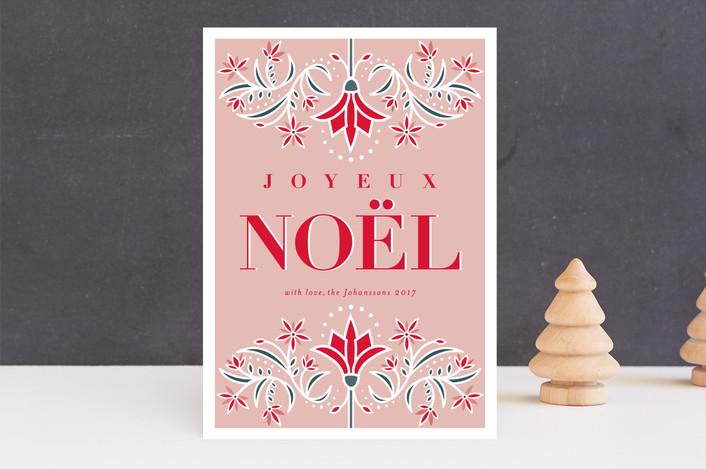 """JOYEUX"" - Vintage Holiday Cards in Blush by Melanie Kosuge."
