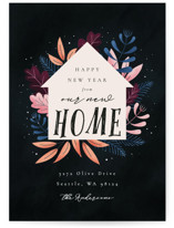 This is a black non photo holiday card by Kann Orasie called Whimsical New Home with standard printing on signature in standard.