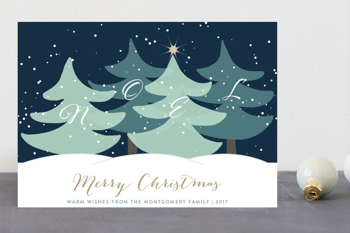 """Noel Wishes"" - Holiday Cards in Winter Night by Roopali."