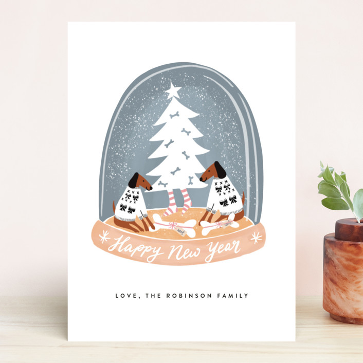 """""""Doggy Holidays"""" - Funny Holiday Cards in Graphite by Jan Shepherd."""