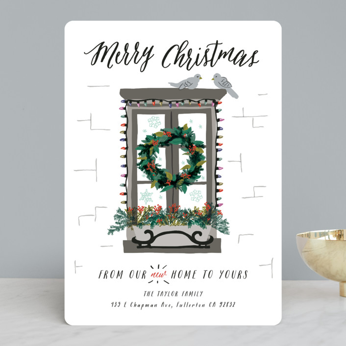 """Christmas Window"" - Holiday Cards in Stainless Steel by Shiny Penny Studio."