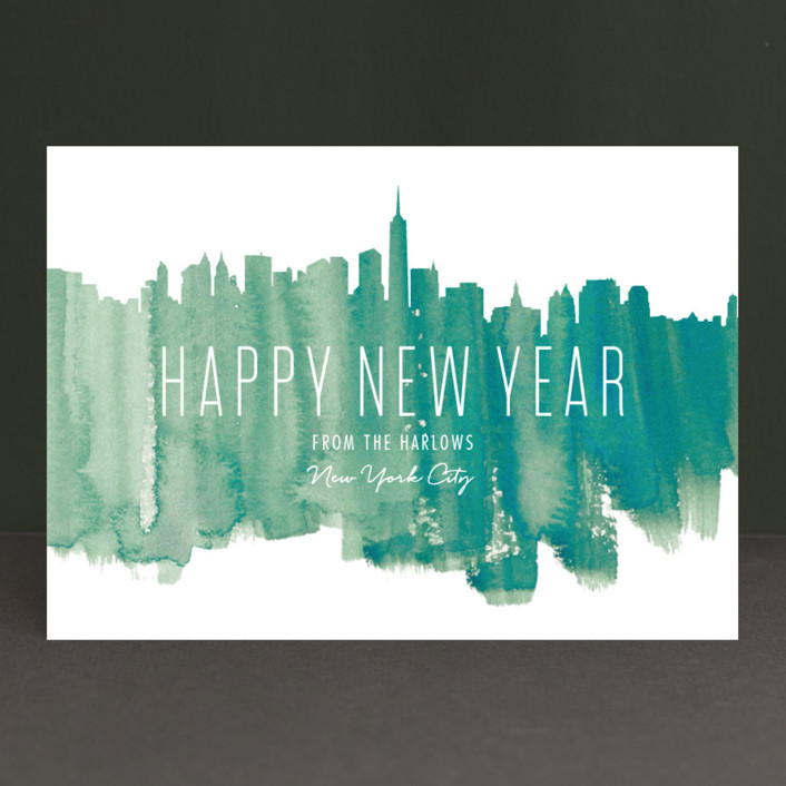 """Paint The Town"" - Elegant, Destination Holiday Cards in Pale Pine by Kaydi Bishop."