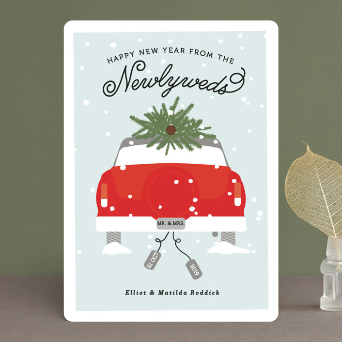 """Merry & Married"" - Holiday Cards in Berry by Bonjour Berry."