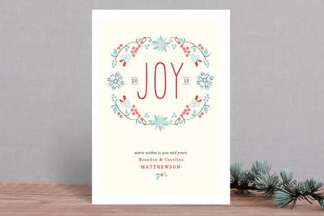 Joyful Wreath Floral Holiday Cards