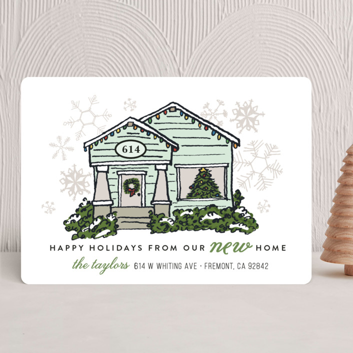 """Christmas Lights New Home"" - Holiday Cards in Mist by Shiny Penny Studio."
