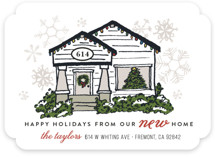 This is a white non photo holiday card by Shiny Penny Studio called Christmas Lights New Home with standard printing on signature in standard.