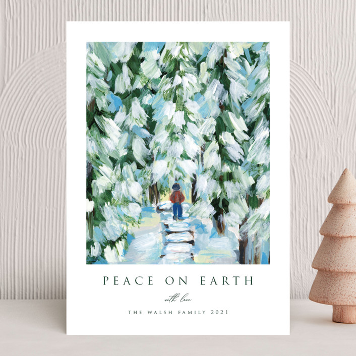 """Peaceful Winter Walk"" - Holiday Cards in Snow by Nicole Walsh."