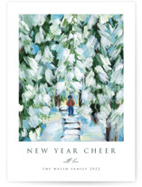 This is a white non photo holiday card by Nicole Walsh called Peaceful Winter Walk with standard printing on signature in standard.