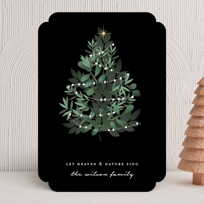 """Heaven And Nature"" - Holiday Cards in Jet by Bonjour Berry."