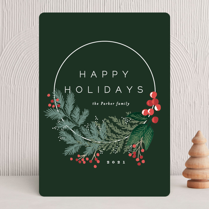 """Modern Pine Wreath"" - Holiday Cards in Ink by Alethea and Ruth."