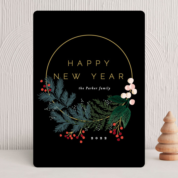 """""""Modern Pine Wreath"""" - Holiday Cards in Ink by Alethea and Ruth."""