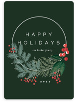 This is a green non photo holiday card by Alethea and Ruth called Modern Pine Wreath with standard printing on signature in standard.