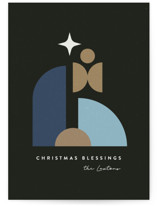 This is a black non photo holiday card by Maria Alou called Modern Holy Family with standard printing on signature in standard.