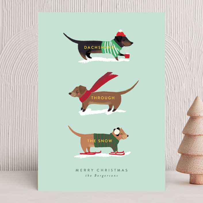 """""""Dachshund Through the Snows"""" - Holiday Cards in Mint by Itsy Belle Studio."""