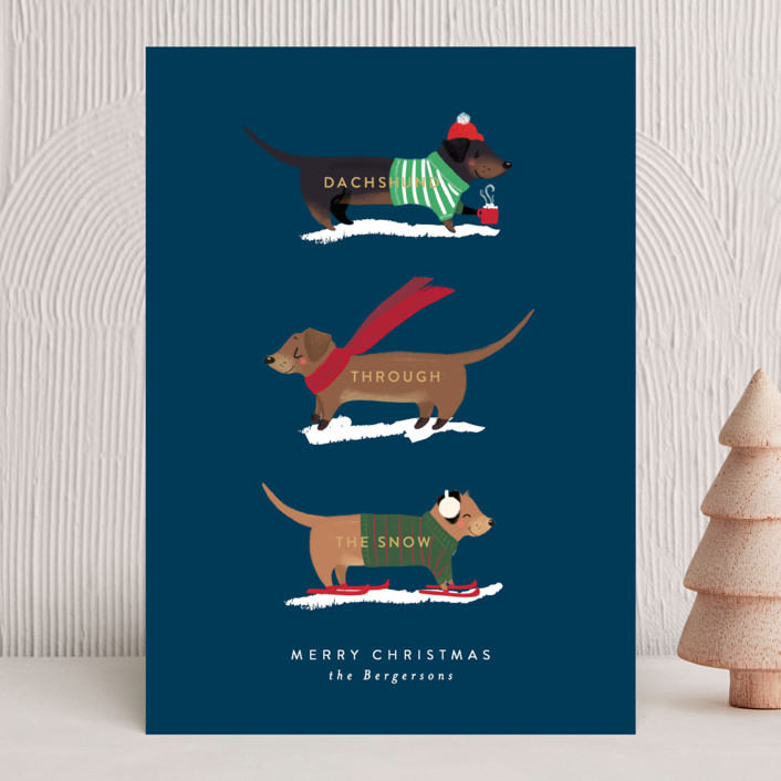 """""""Dachshund Through the Snows"""" - Holiday Cards in Navy by Itsy Belle Studio."""