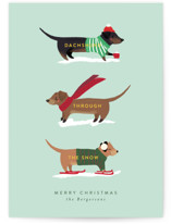 This is a green non photo holiday card by Itsy Belle Studio called Dachshund Through the Snows with standard printing on signature in standard.