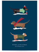 This is a blue non photo holiday card by Itsy Belle Studio called Dachshund Through the Snows with standard printing on signature in standard.